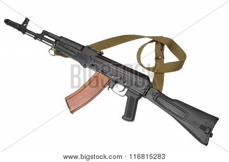 Russian assault rifle AK-74 . 5/45 mm. First saw service with Soviet forces engaged in the Afghanistan conflict. Most popular gun in the world. (from rebels to official army soldiers).