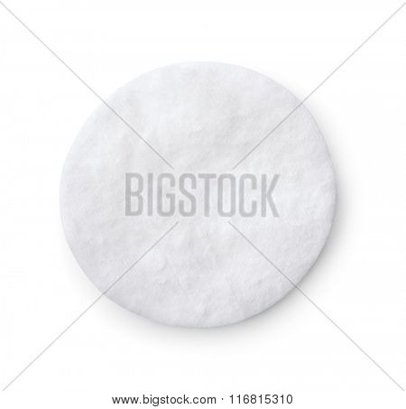 Top view of single cotton pad isolated on white