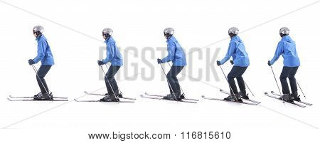 Skiier Demonstrate How To Turn Around The Tails Of Skis. Step By Step Instruction.