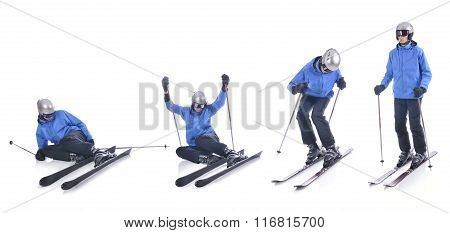Skiier Demonstrate How To Stand Up In Skiing. Step By Step Instruction.