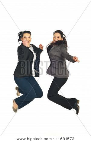 Two Business Women Jumping