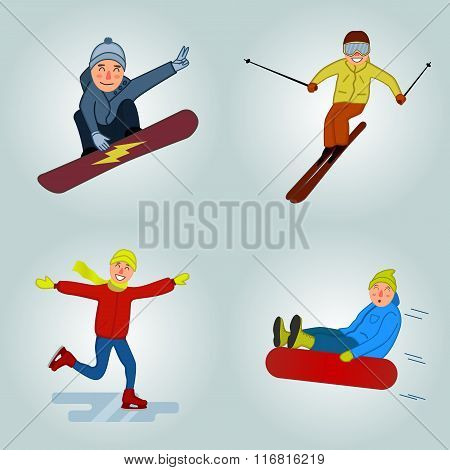 Winter sport cartoon characters winter sport illustration. Funny Skier, Snowboarder, ice skater.Tubi