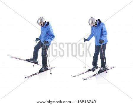 Skiier Demonstrate How To Take Off The Skis. Step By Step Instruction.