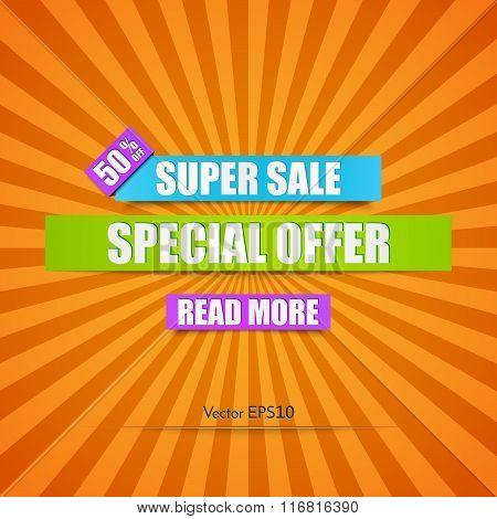 Super Sale Paper Banner. Vector Illustration