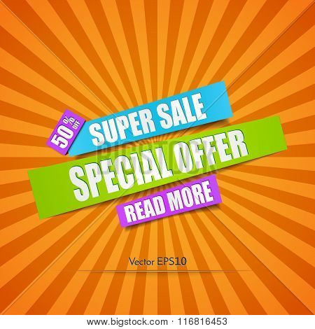 Super Sale Paper Banner. Vector Illustration
