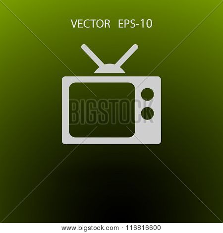 Flat icon of tv