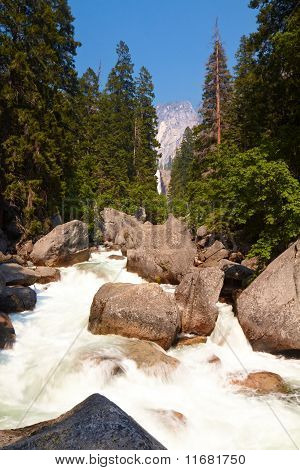 Stream In Yosemite Valley Shot With Long Exposure
