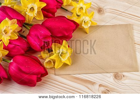 Red Yellow Spring Flowers Easter or Mothers Day