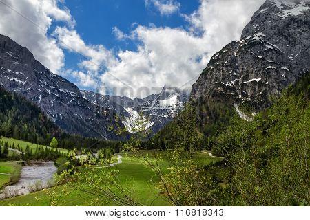 Spring mountain alpine landscape, Austria, Tirol