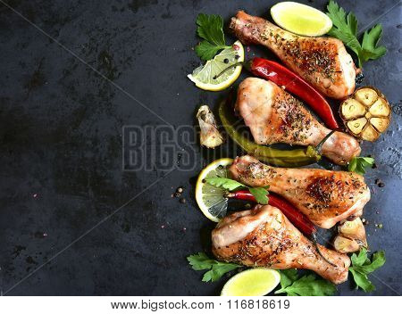 Grilled Chicken Legs.top View.copy Space Background.