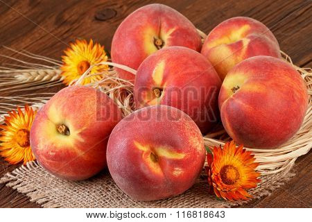 Peaches fruits still life rustic decoration