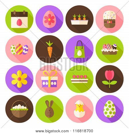 Happy Spring Easter Circle Icons Set With Long Shadow