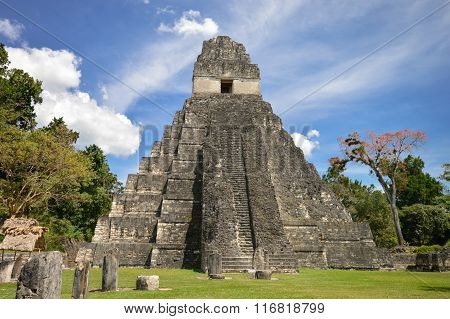 Temple I Of The Maya Archaeological Site Of Tikal In Guatemala