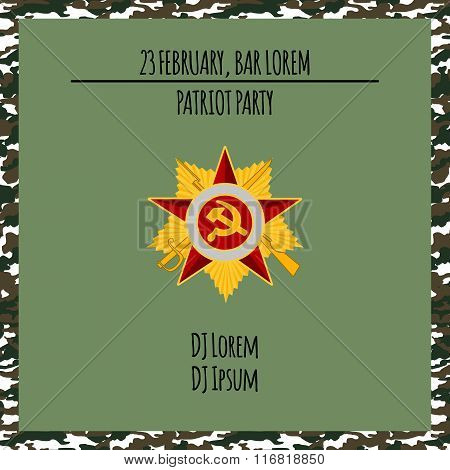 Patriot party poster with red star . Vector illustration. 23 february and Victory Day banner.
