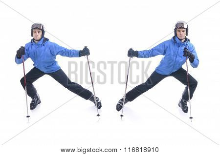Skiier Demonstrate Warm Up Exercise For Skiing. Dinamic Stretch With Sticks.