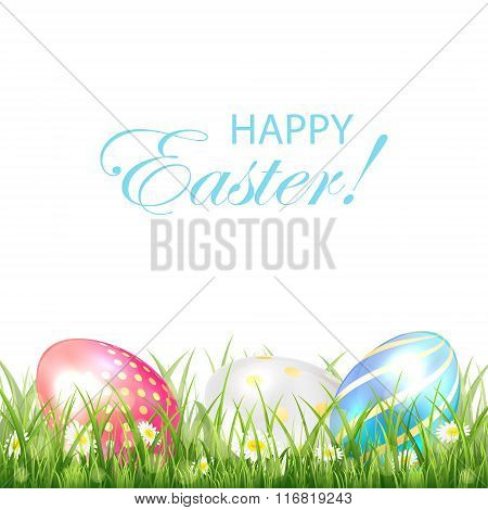 Three Colorful Easter Eggs On White Background