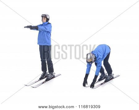 Skiier Demonstrate Warm Up Exercise For Skiing. Bend Forward.