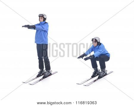 Skiier Demonstrate Warm Up Exercise For Skiing. Squats On Skis.