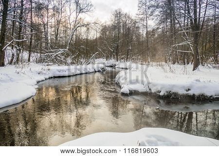 The river in the winter at the park