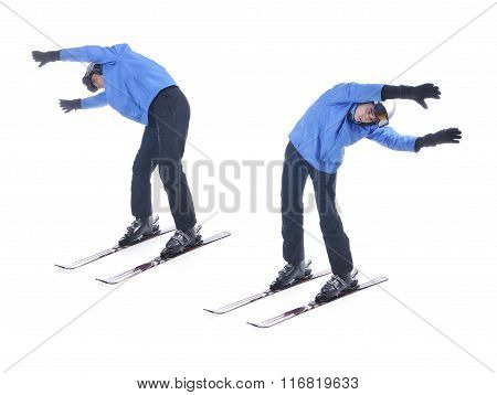 Skiier Demonstrate Warm Up Exercise For Skiing. Bend Sideways.