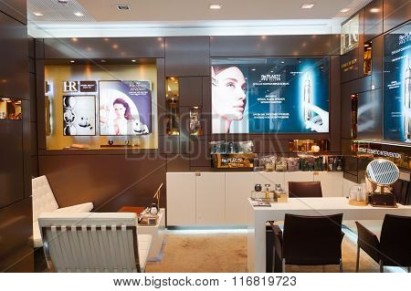 HONG KONG - JANUARY 26, 2016: Helena Rubinstein cosmetics store at Elements Shopping Mall. Elements is a large shopping mall located on 1 Austin Road West, Tsim Sha Tsui, Kowloon, Hong Kong