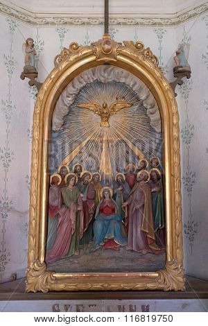 STITAR, CROATIA - AUGUST 27: Pentecost, the descent of the Holy Spirit in the chapel in the village Stitar, Croatia on August 27, 2015
