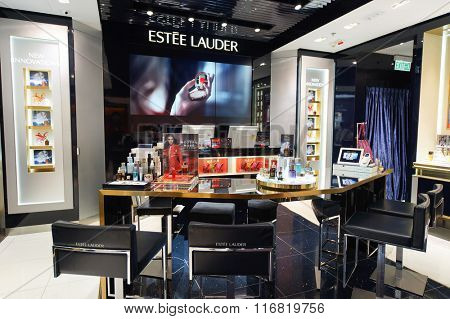 HONG KONG - JANUARY 26, 2016: Estee Lauder cosmetics store at Elements Shopping Mall. Elements is a large shopping mall located on 1 Austin Road West, Tsim Sha Tsui, Kowloon, Hong Kong