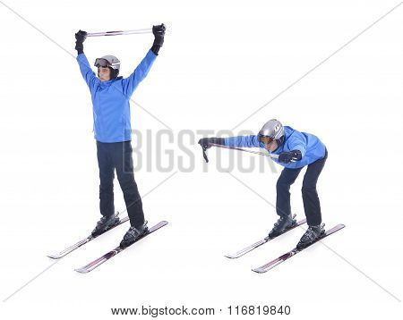 Skiier Demonstrate Warm Up Exercise For Skiing. Bend Forward With Sticks.