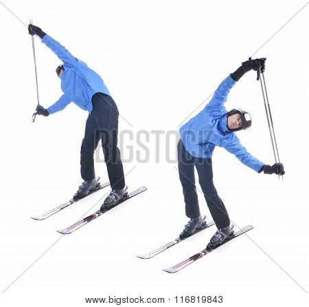 Skiier Demonstrate Warm Up Exercise For Skiing. Bend Sideways With Sticks.