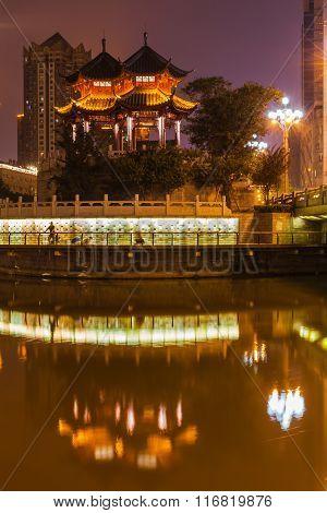 Night View Of Hejiang Pavilion In Chengdu