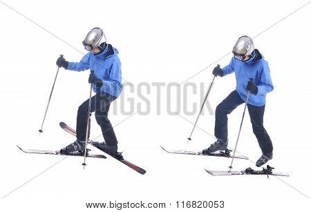 Skiier Demonstrate How To Put On Skis Uphill.
