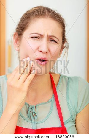 Woman Suffering From Toothache Tooth Pain.