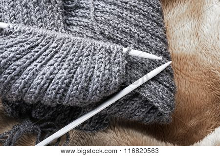 Knitting Scarf Close Up