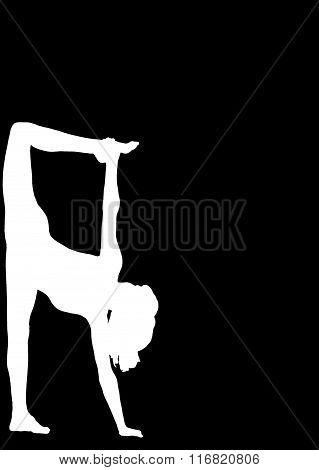 Silhouette Young Woman Practicing Yoga . Asan .logo