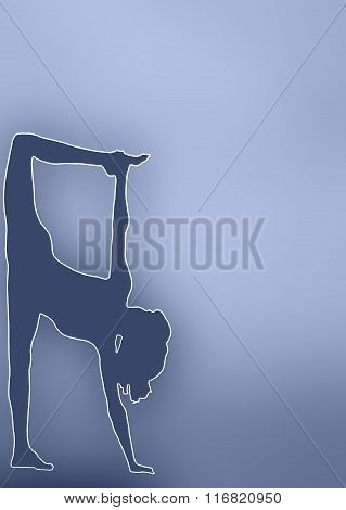 Silhouette Of A Young Woman Practicing Yoga. Stretching The Body