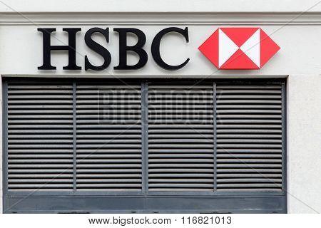 HSBC logo on a facade