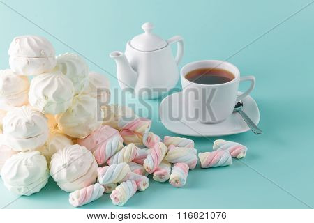 Lot Of Vibrant Marshmallow On Aquamarine Background