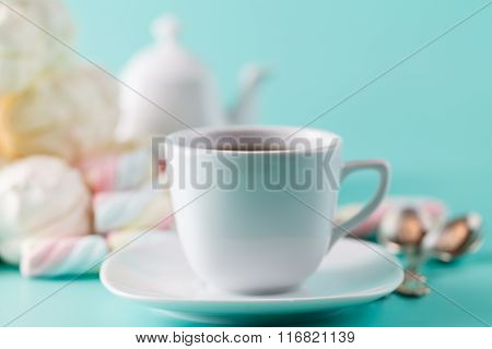 Cofe Cup And Pile Sweet Pastel Colored Marshmall