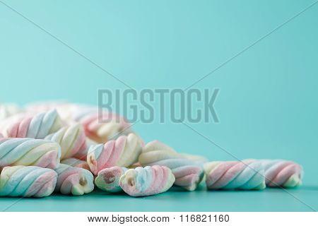Marshmallow On Aquamarine Backgound