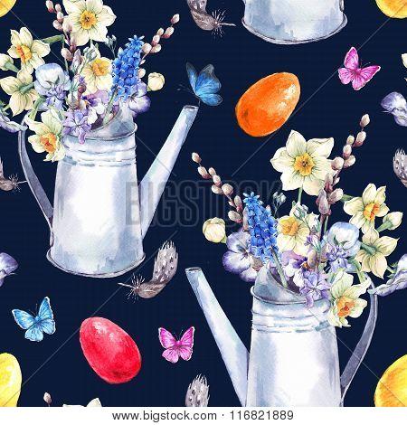 Watercolor Vintage Happy Easter Seamless Pattern