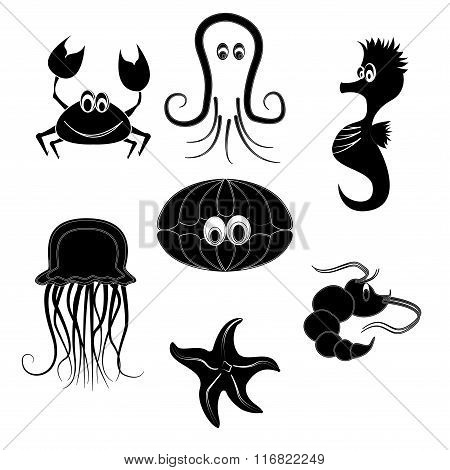 silhouettes of sea creatures on a white background