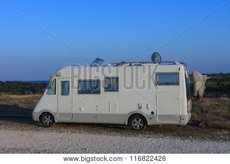 Caravan In Kamenjak In Croatia In The Sunset Time