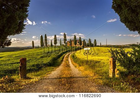 Val d'Orcia farmhouse with cypresses and meadow