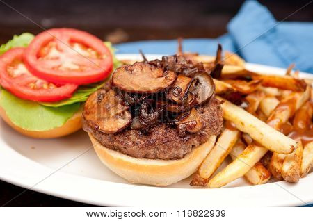 Mushroom Burger, Fries And Gravy