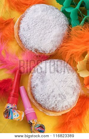 german sweet berliner doughnut with Carnival decoration