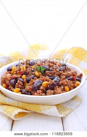 Minced Meat With Corn, Sweet Peppers And Beans In A Dish