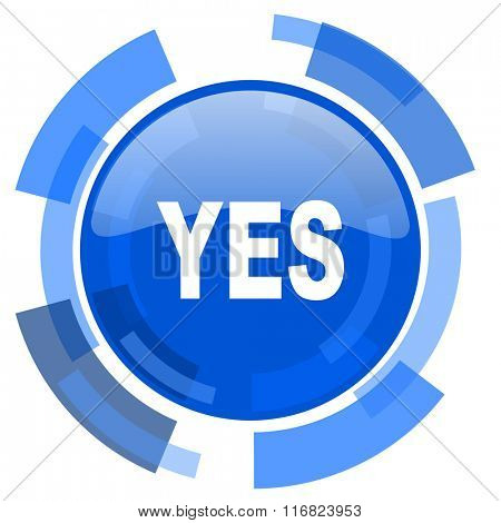 yes blue glossy circle modern web icon