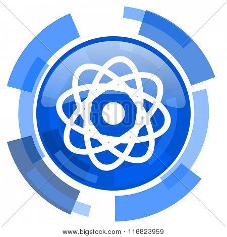 atom blue glossy circle modern web icon