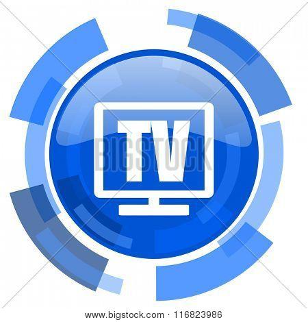 tv blue glossy circle modern web icon