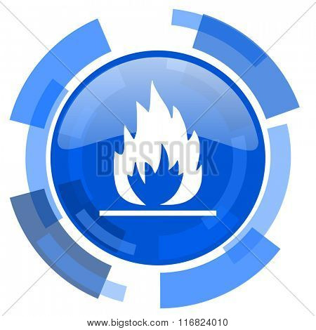 flame blue glossy circle modern web icon